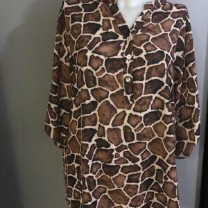 Blouse Giraffe print bruin-beige